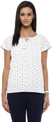 Honey By Pantaloons Casual Cap Sleeve Printed Women's White Top