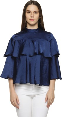 Annabelle by Pantaloons Party Layered Sleeve Solid Women's Dark Blue Top