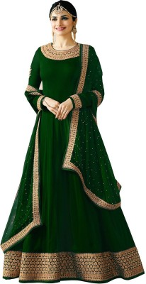 Ethnic Yard Faux Georgette Embroidered Salwar and Dupatta Material