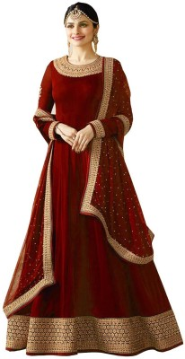 YOYO Fashion Faux Georgette Embroidered Semi-stitched Salwar Suit Dupatta Material