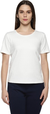 Annabelle by Pantaloons Casual Half Sleeve Self Design Women's White Top