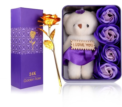 HOMOKART LOVE PACKET WITH GOLDEN ROSE BEST GIFT TO GIFT FOR GIRLFRIEND Showpiece, Artificial Flower Gift Set