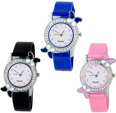 Crazy Look Beautiful Butterfly Style Colorful Combo Kids Watch Stylish 3 Women Watch  - For Girls
