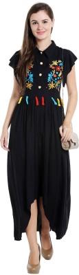 Ishin Women's Maxi Black Dress