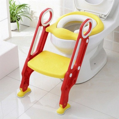 NIRVA Potty Training Seat for Potty Training Step Trainer Ladder Toilet Training Potty Seat In Non-Slip Steps soft Cushion Pad for Baby Boys Girls In Yellow Color Potty Seat