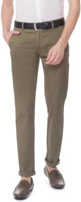 Peter England Slim Fit Men Green Trousers