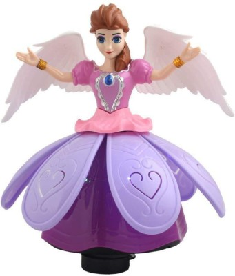 Fedexo Plastic Dancing Angel Girl Robot with 3D Lights and Music (Multicolour, TK-Angel-Doll)