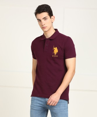 U.S. Polo Assn Solid Men Polo Neck Maroon T-Shirt