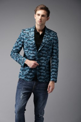 The Indian Garage Co Printed Single Breasted Casual Men Blazer