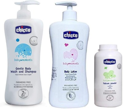 Chicco Baby Lotion 500ml,Baby Shampoo500ml,Baby Powder 150g combo pack
