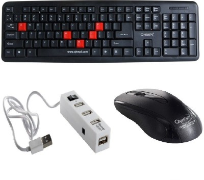 Quantum Hi-Tech QHM 7403/232B Wired USB Mouse, Keyboard & USB 4 Port Hub Combo Combo Set