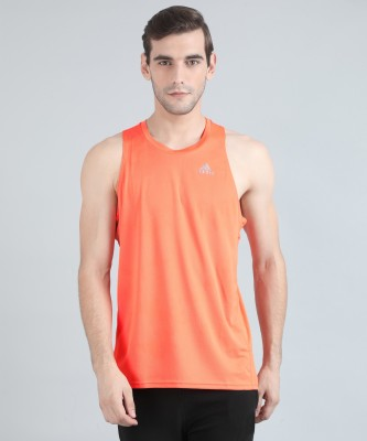 ADIDAS Solid Men Round Neck Orange T-Shirt