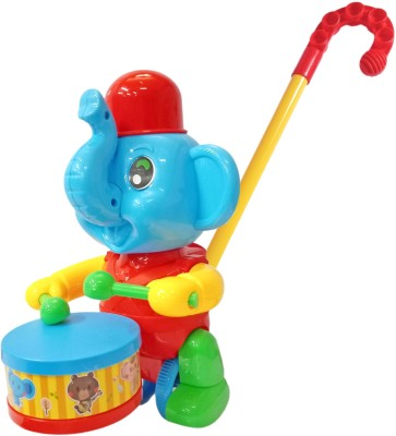 Miss & Chief Walk n Push n Pull Along Elephant with Drum Tapping Toy for Kids
