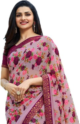 Bombey Velvat Fab Floral Print Bollywood Georgette, Chiffon, Synthetic Chiffon Saree