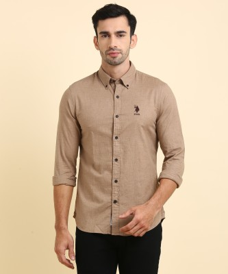 U.S. Polo Assn Men's Solid Casual Brown Shirt