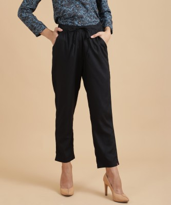 Biba Regular Fit Women's Black Trousers
