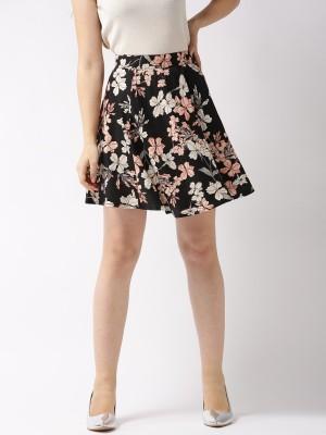 Sera Floral Print Women Flared Black Skirt