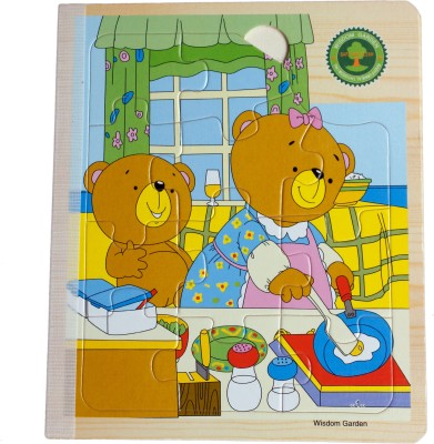 Hnt Kids jigsaw wooden book puzzle (6-in-1 & 67 Pieces) | Animal Themed | Early Educational Toys for Toddlers Kids 2 Years +