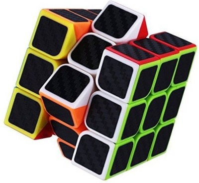 Miss & Chief Carbon Fiber Stickers 3x3 Neon Colors High Speed Magic Rubik Cube Puzzle Toy (5.5cm)
