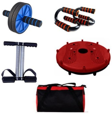 Skyfitness AB wheel exerciser, Pushup stand, Tummy Trimmer,twister Disc with Gym Bag Home Gym Kit