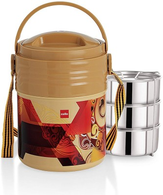 Cello Stainless Steel 355ml, Beige 3 Containers Lunch Box
