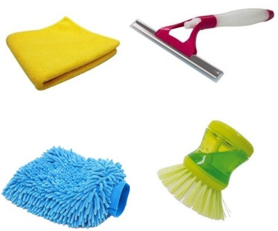 De-Ultimate Set Of Soap Dispenser Dish Washer Sink Brush for Kitchen Floor Tiles Cleaning, Multi Purpose Microfiber Home Office Car Bike Vehicle Washing Hand Glove Mitts, Super Clean Polish Towel Wet & Dry Microfiber Cleaning Cloth And Window Non Scratch Sprayer Glass Wiper Cleaning Brush