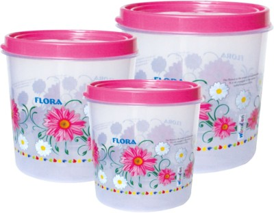 Wonder Conti Large Plastic Printed Kitchen Container Set ,Set of 3 Pcs, Clear with Pink Floral Print  - 7 L, 10 L, 16 L Plastic Tea Coffee & Sugar Container