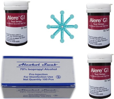 NSC Alere G1 150 Glucometer Strips with 100 Lancet And 100 Alcohol swab Latest MFG fresh lot long expiry Health Care Appliance Combo