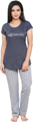 Boring Dress Women Printed Grey Top & Pyjama Set