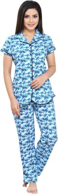 Boring Dress Women Printed Blue Night Suit Set