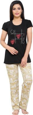Boring Dress Women Printed Gold Top & Pyjama Set