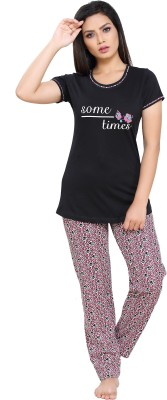 Boring Dress Women Printed Multicolor Top & Pyjama Set
