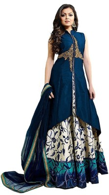 color bucket Poly Silk Embroidered Semi-stitched Salwar Suit Dupatta Material