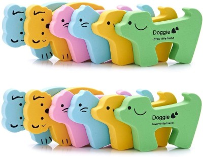 SYGA Set of 12 Baby Proofing Door Stoppers With Bright Colorful Animals for Child Safety Door Gaurd