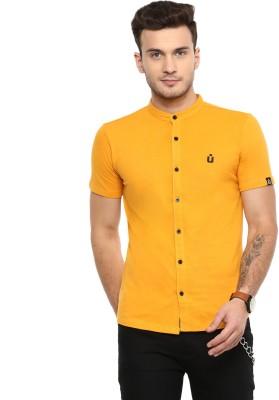 Urbano Fashion Men Solid Casual Yellow Shirt