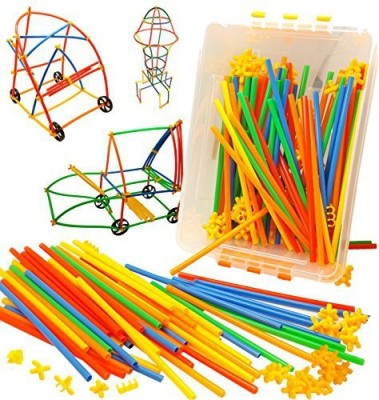 Skoolzy Wheels, Straws And Connectors Stem Toys Kids Educational Toys For 3, 4, 5, 6 Year Olds - 400Pc Fine Motor Skills Engineering Toy