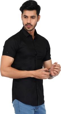 FabTag - Jai Textiles Men Solid Casual Black Shirt