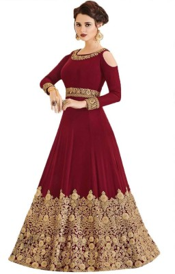 MR CROZY Poly Georgette Embroidered Salwar Suit Material