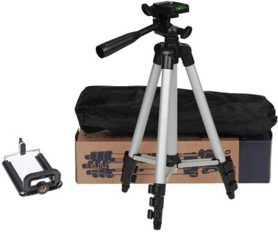 Oxhox Tripod-3110 Portable Adjustable Aluminum Lightweight Camera Stand With Three-Dimensional Head & Quick Release Plate For Video Cameras and mobile Tripod Tripod (Black, Silver, Supports Up to 1000 g) Tripod