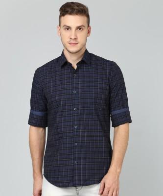 Peter England Men Checkered Formal Black, Dark Blue Shirt