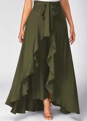 TANDUL Solid Women's Flared Light Green Skirt