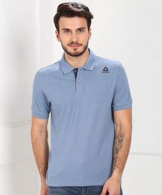 REEBOK Solid Men Polo Neck Blue T-Shirt