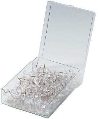 Action World Plastic, White Transparent Push Pins, 100 Pcs, with box  Pins
