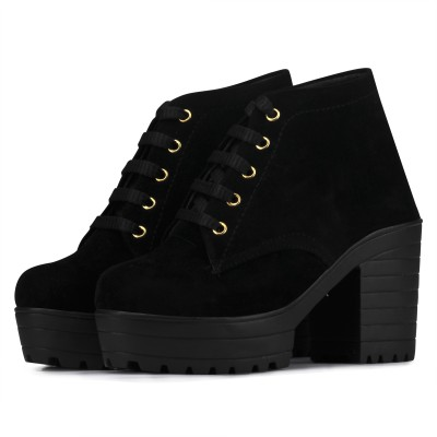 Flaunters High heels Black Color Valvet fabric Shoes Boots For Women