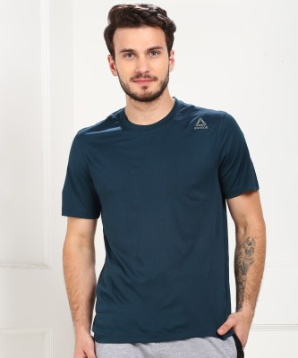 REEBOK Solid Men Round Neck Blue T-Shirt