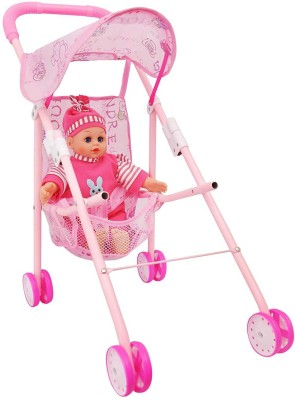 Sunshine Gifting Stroller Baby Doll with Real Moving Stroller, 12 Baby Sounds
