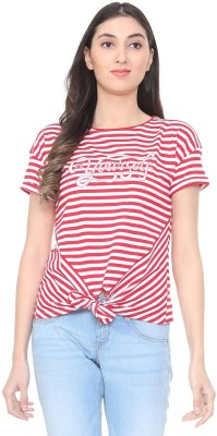 People Striped Women Round Neck Red T-Shirt