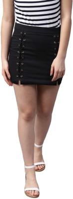 Street 9 Solid Women A-line Black Skirt