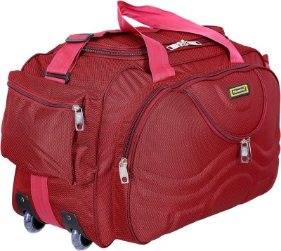 Nice Line (Expandable) (Expandable) Lightweight Waterproof Luggage Travel Duffel Bag with Roller wheels - Gala Red Duffel Strolley Bag (Red) Duffel Strolley Bag