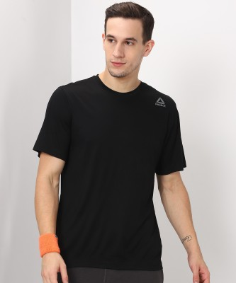 REEBOK Solid Men's Round Neck Black T-Shirt